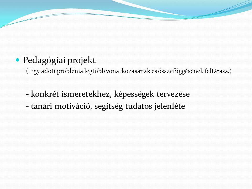 Pedagógiai projekt ( Egy adott probléma legtöbb vonatkozásának és összefüggésének feltárása.) - konkrét ismeretekhez, képességek tervezése - tanári mo