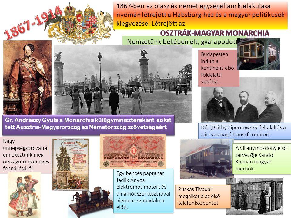 Déri,Bláthy,Zipernowsky feltalálták a zárt vasmagú transzformátort 1867-ben az olasz és német egységállam kialakulása nyomán létrejött a Habsburg-ház