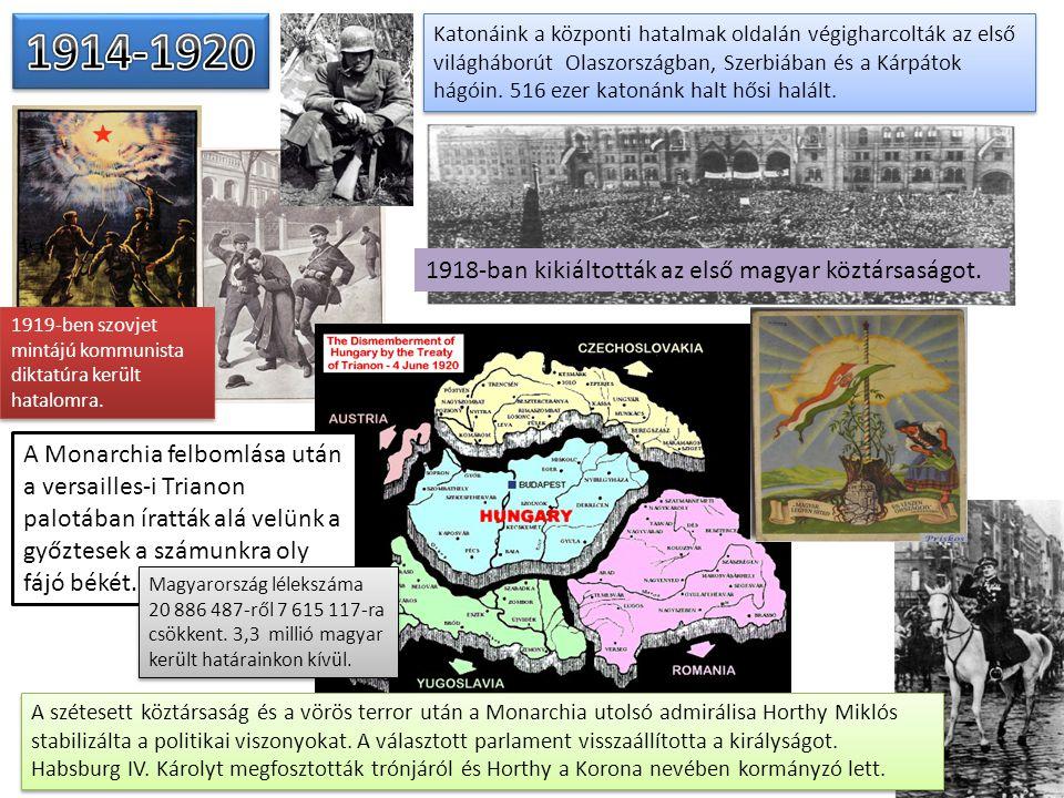 Katonáink a központi hatalmak oldalán végigharcolták az első világháborút Olaszországban, Szerbiában és a Kárpátok hágóin. 516 ezer katonánk halt hősi