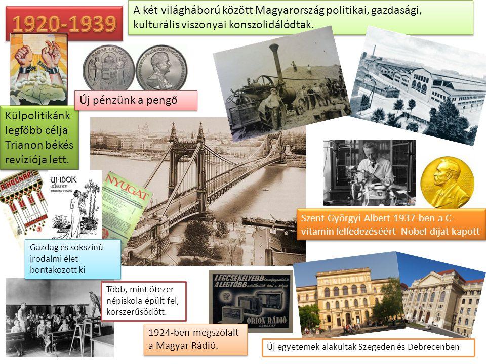A két világháború között Magyarország politikai, gazdasági, kulturális viszonyai konszolidálódtak. Külpolitikánk legfőbb célja Trianon békés revíziója