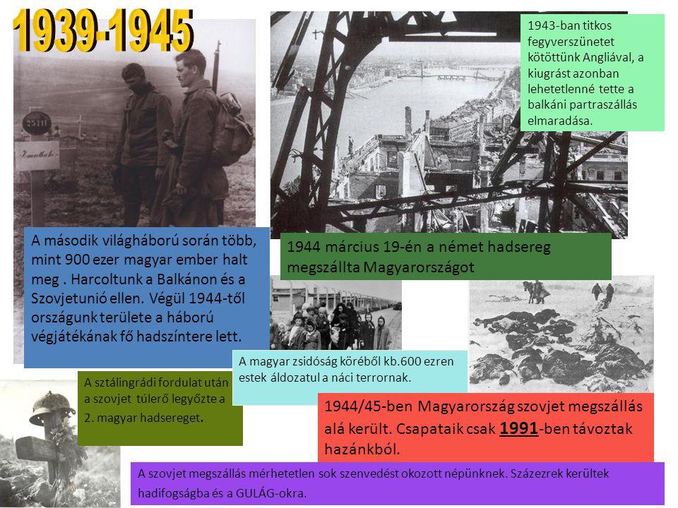 A második világháború során több, mint 900 ezer magyar ember halt meg. Harcoltunk a Balkánon és a Szovjetunió ellen. Végül 1944-től országunk területe