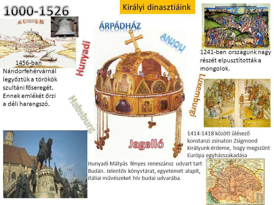 Királyi dinasztiáink 1456-ban Nándorfehérvárnál legyőztük a törökök szultáni főseregét. Ennek emlékét őrzi a déli harangszó. 1241-ben országunk nagy r