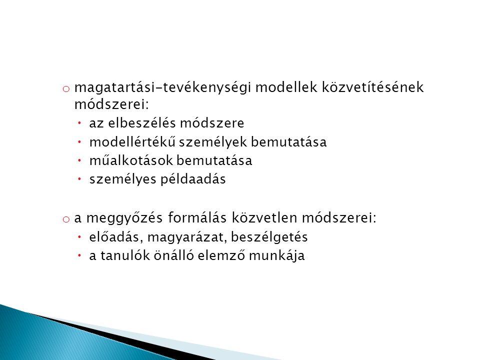 o magatartási-tevékenységi modellek közvetítésének módszerei:  az elbeszélés módszere  modellértékű személyek bemutatása  műalkotások bemutatása 