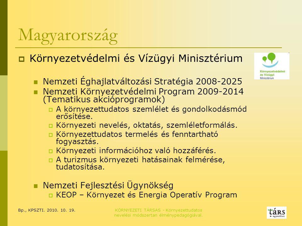 Bp., KPSZTI. 2010. 10. 19.KÖRNYEZETI TÁRSAS - Környezettudatos nevelési módszertan élménypedagógiával. Magyarország  Környezetvédelmi és Vízügyi Mini