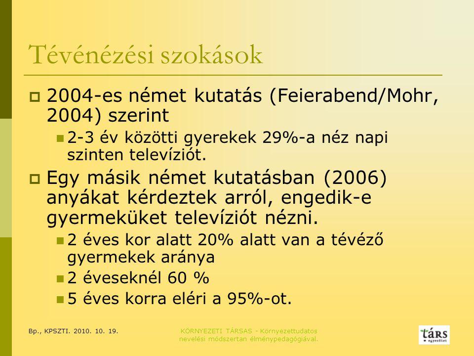Bp., KPSZTI. 2010. 10. 19.KÖRNYEZETI TÁRSAS - Környezettudatos nevelési módszertan élménypedagógiával. Tévénézési szokások  2004-es német kutatás (Fe