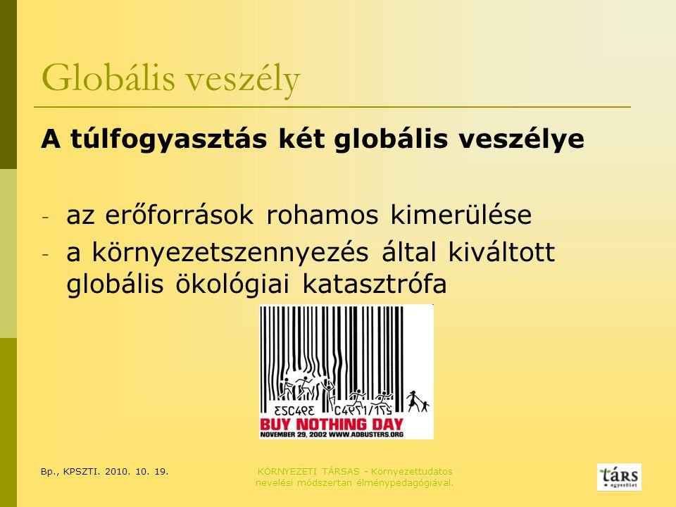 Bp., KPSZTI. 2010. 10. 19.KÖRNYEZETI TÁRSAS - Környezettudatos nevelési módszertan élménypedagógiával. Globális veszély A túlfogyasztás két globális v