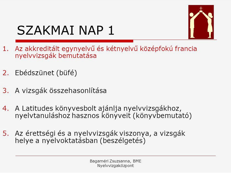 Bagaméri Zsuzsanna, BME Nyelvvizgaközpont SZAKMAI NAP 1 1.Az akkreditált egynyelvű és kétnyelvű középfokú francia nyelvvizsgák bemutatása 2.Ebédszünet (büfé) 3.A vizsgák összehasonlítása 4.A Latitudes könyvesbolt ajánlja nyelvvizsgákhoz, nyelvtanuláshoz hasznos könyveit (könyvbemutató) 5.Az érettségi és a nyelvvizsgák viszonya, a vizsgák helye a nyelvoktatásban (beszélgetés)