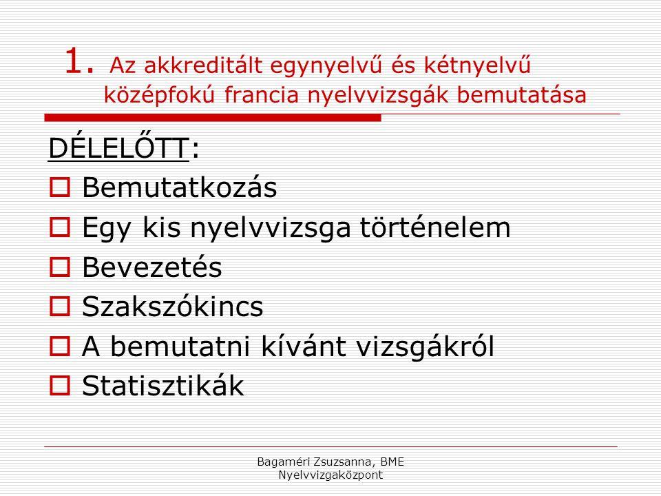 Bagaméri Zsuzsanna, BME Nyelvvizgaközpont 1.