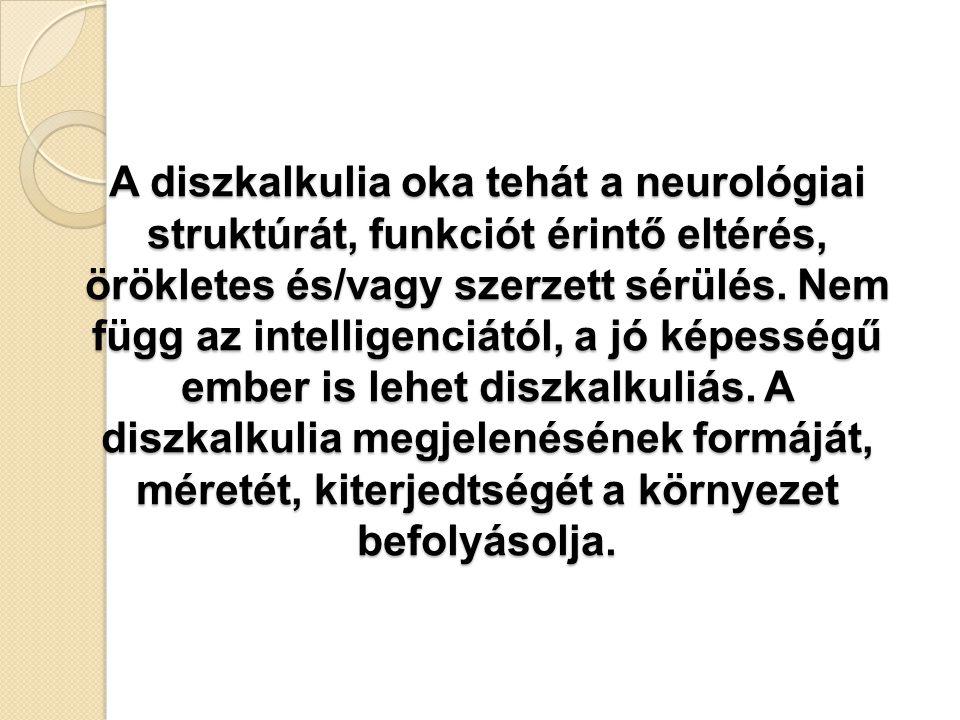 A diszkalkulia oka tehát a neurológiai struktúrát, funkciót érintő eltérés, örökletes és/vagy szerzett sérülés.