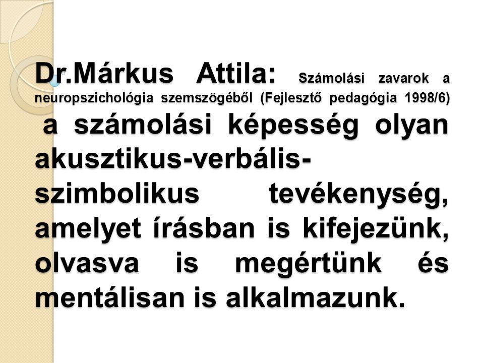 Dr.Márkus Attila: Számolási zavarok a neuropszichológia szemszögéből (Fejlesztő pedagógia 1998/6) a számolási képesség olyan akusztikus-verbális- szimbolikus tevékenység, amelyet írásban is kifejezünk, olvasva is megértünk és mentálisan is alkalmazunk.