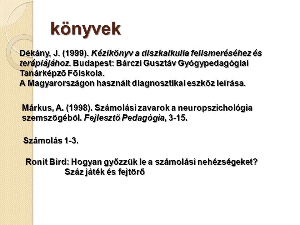 könyvek Dékány, J.(1999). Kézikönyv a diszkalkulia felismeréséhez és terápiájához.