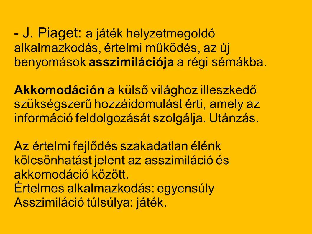 - J. Piaget: a játék helyzetmegoldó alkalmazkodás, értelmi működés, az új benyomások asszimilációja a régi sémákba. Akkomodáción a külső világhoz ille