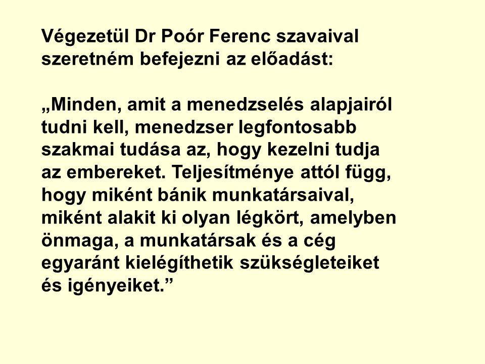 """Végezetül Dr Poór Ferenc szavaival szeretném befejezni az előadást: """"Minden, amit a menedzselés alapjairól tudni kell, menedzser legfontosabb szakmai"""