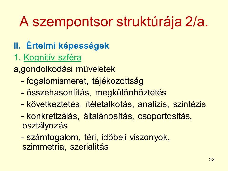 32 A szempontsor struktúrája 2/a.II. Értelmi képességek 1.