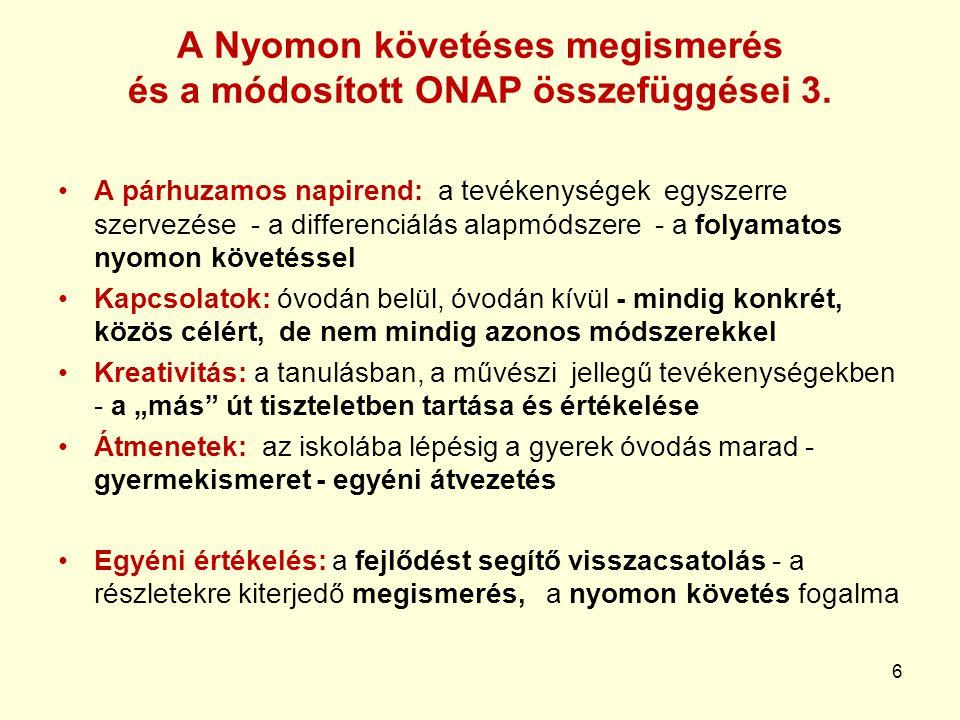 6 A Nyomon követéses megismerés és a módosított ONAP összefüggései 3.