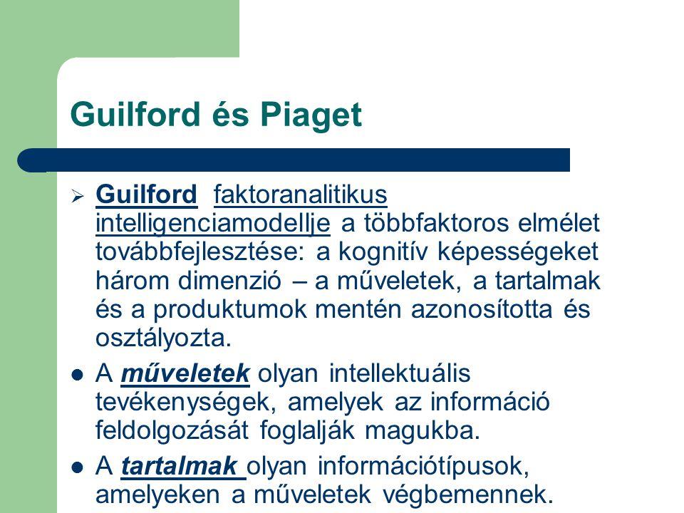 Guilford és Piaget  Guilford faktoranalitikus intelligenciamodellje a többfaktoros elmélet továbbfejlesztése: a kognitív képességeket három dimenzió – a műveletek, a tartalmak és a produktumok mentén azonosította és osztályozta.