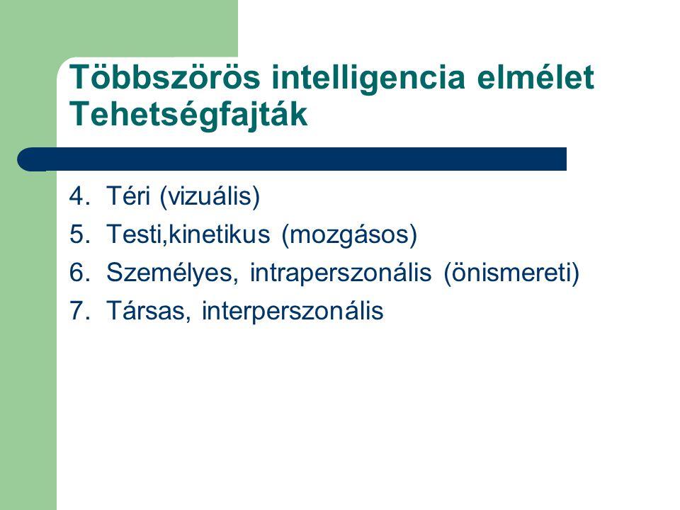 Többszörös intelligencia elmélet Tehetségfajták 4. Téri (vizuális) 5. Testi,kinetikus (mozgásos) 6. Személyes, intraperszonális (önismereti) 7. Társas