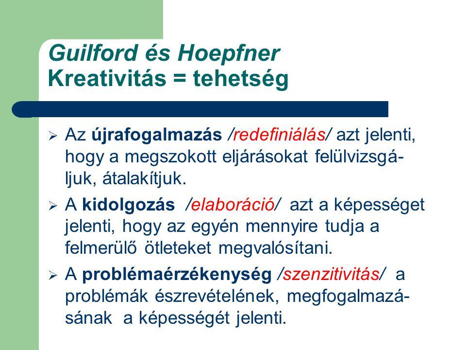 Guilford és Hoepfner Kreativitás = tehetség  Az újrafogalmazás /redefiniálás/ azt jelenti, hogy a megszokott eljárásokat felülvizsgá- ljuk, átalakítjuk.