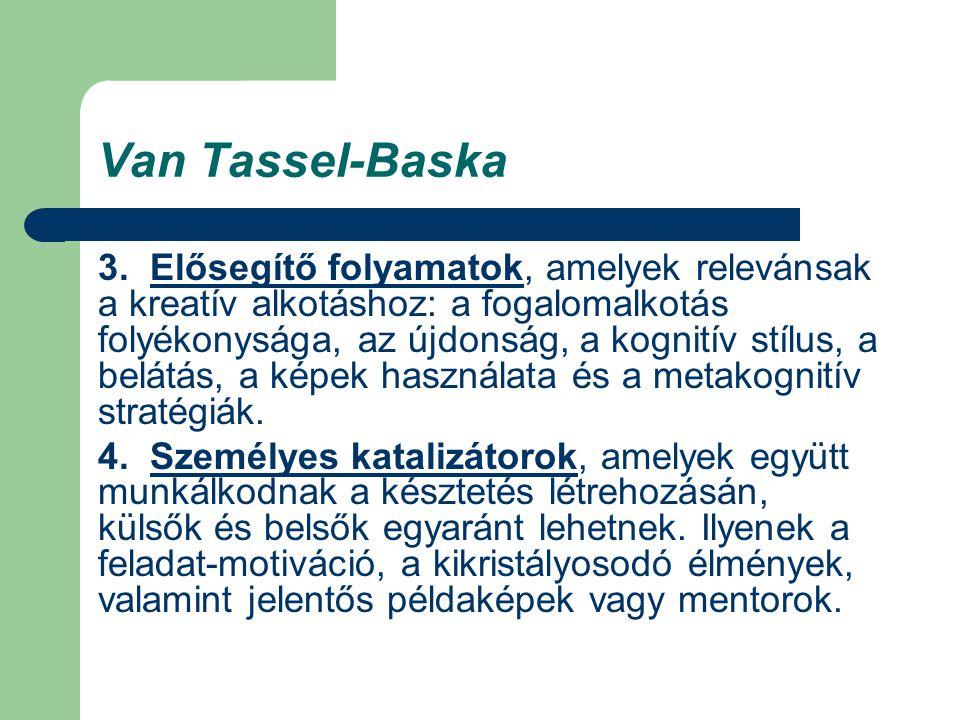 Van Tassel-Baska 3. Elősegítő folyamatok, amelyek relevánsak a kreatív alkotáshoz: a fogalomalkotás folyékonysága, az újdonság, a kognitív stílus, a b
