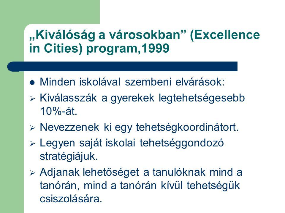 """""""Kiválóság a városokban (Excellence in Cities) program,1999 Minden iskolával szembeni elvárások:  Kiválasszák a gyerekek legtehetségesebb 10%-át."""