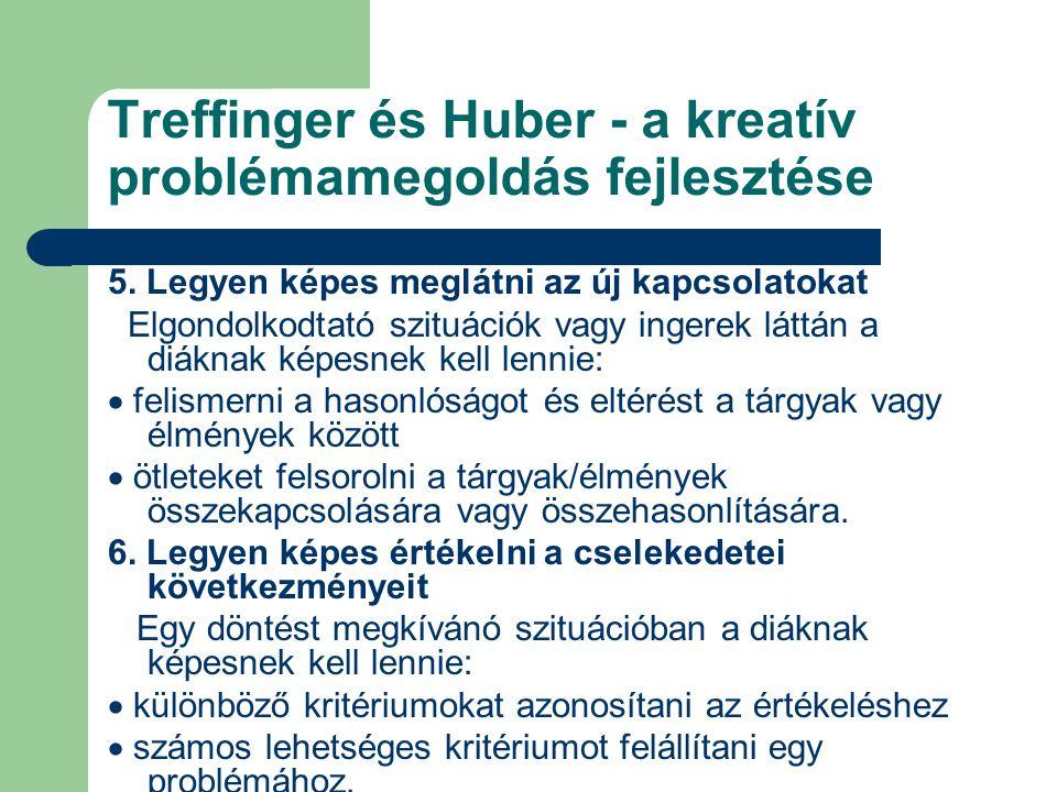 Treffinger és Huber - a kreatív problémamegoldás fejlesztése 5. Legyen képes meglátni az új kapcsolatokat Elgondolkodtató szituációk vagy ingerek látt