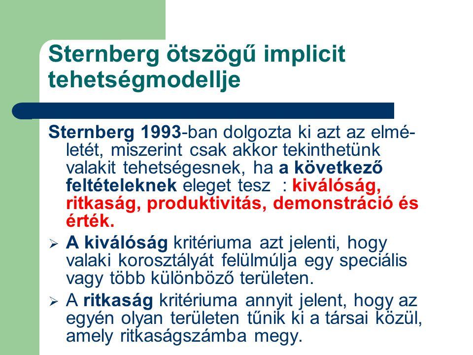 Sternberg ötszögű implicit tehetségmodellje Sternberg 1993-ban dolgozta ki azt az elmé- letét, miszerint csak akkor tekinthetünk valakit tehetségesnek, ha a következő feltételeknek eleget tesz : kiválóság, ritkaság, produktivitás, demonstráció és érték.