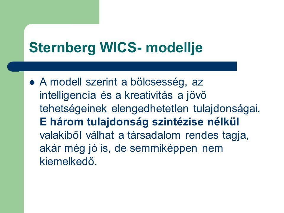 Sternberg WICS- modellje A modell szerint a bölcsesség, az intelligencia és a kreativitás a jövő tehetségeinek elengedhetetlen tulajdonságai. E három