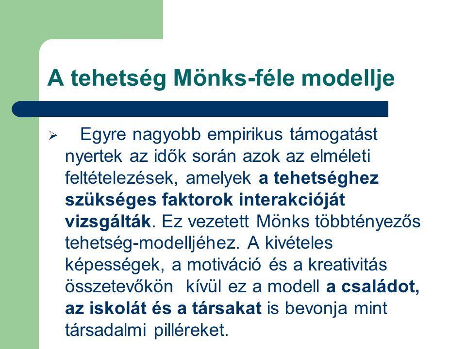 A tehetség Mönks-féle modellje  Egyre nagyobb empirikus támogatást nyertek az idők során azok az elméleti feltételezések, amelyek a tehetséghez szüks