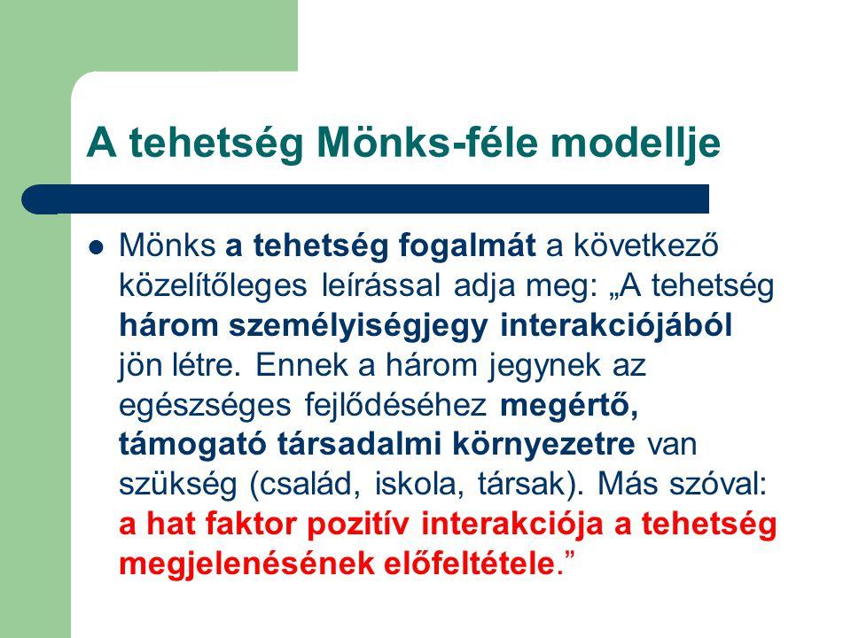 """A tehetség Mönks-féle modellje Mönks a tehetség fogalmát a következő közelítőleges leírással adja meg: """"A tehetség három személyiségjegy interakciójáb"""