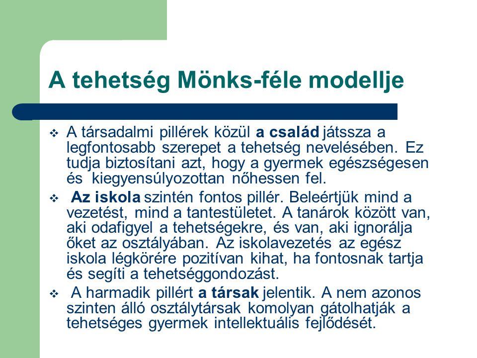 A tehetség Mönks-féle modellje  A társadalmi pillérek közül a család játssza a legfontosabb szerepet a tehetség nevelésében. Ez tudja biztosítani azt