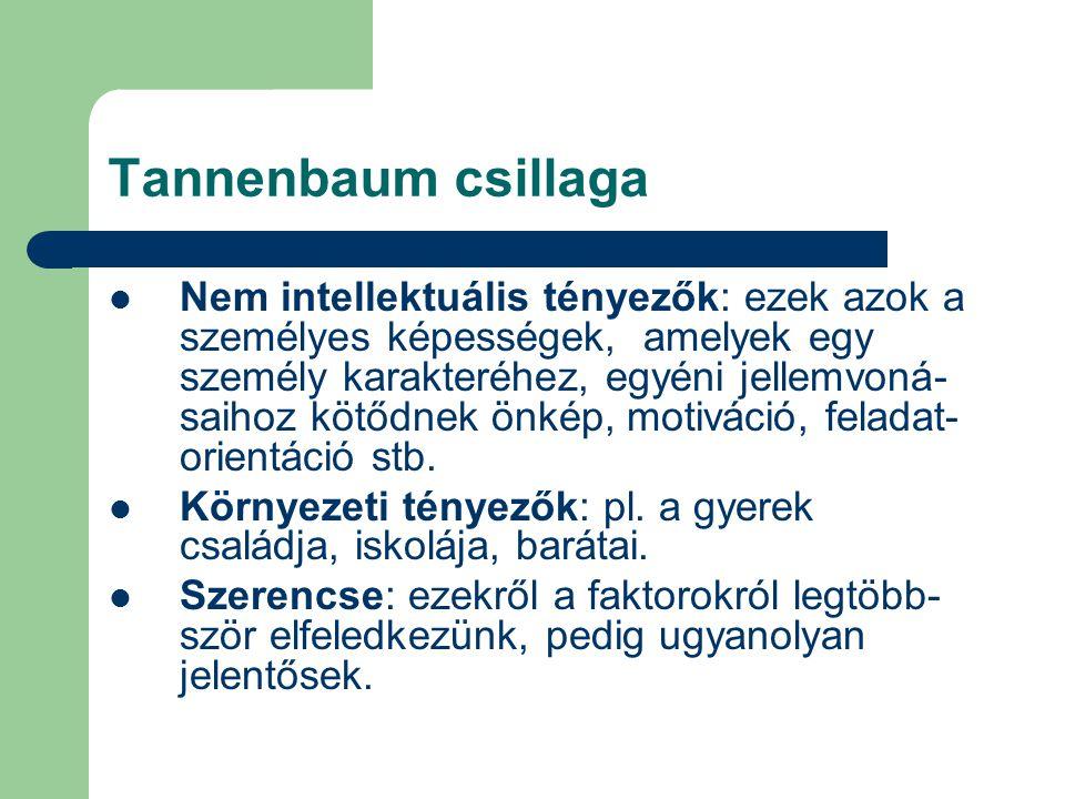 Tannenbaum csillaga Nem intellektuális tényezők: ezek azok a személyes képességek, amelyek egy személy karakteréhez, egyéni jellemvoná- saihoz kötődne