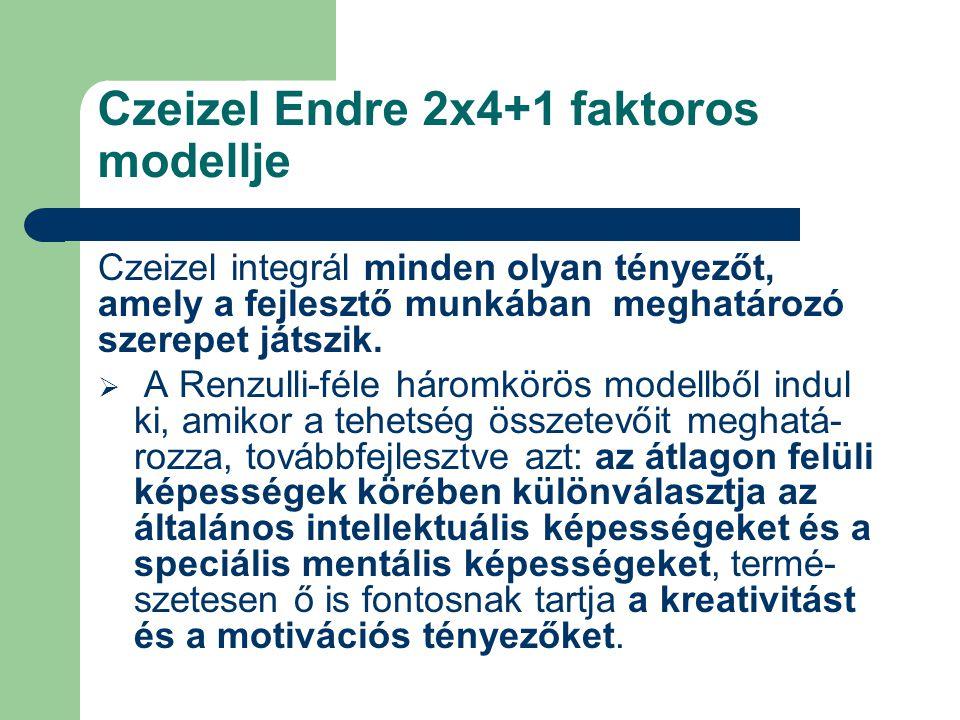 Czeizel Endre 2x4+1 faktoros modellje Czeizel integrál minden olyan tényezőt, amely a fejlesztő munkában meghatározó szerepet játszik.  A Renzulli-fé