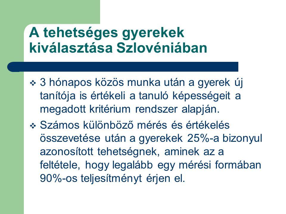 A tehetséges gyerekek kiválasztása Szlovéniában  3 hónapos közös munka után a gyerek új tanítója is értékeli a tanuló képességeit a megadott kritériu