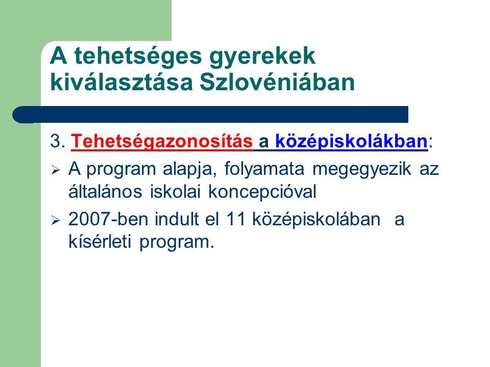 A tehetséges gyerekek kiválasztása Szlovéniában 3. Tehetségazonosítás a középiskolákban:  A program alapja, folyamata megegyezik az általános iskolai