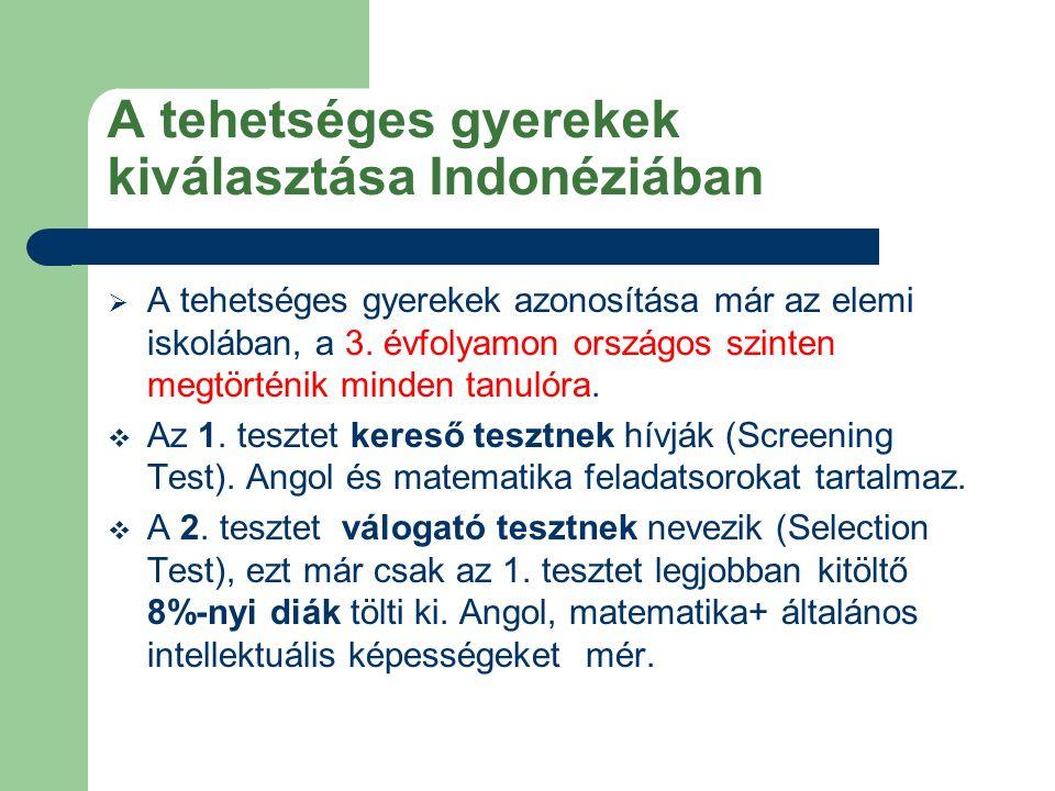 A tehetséges gyerekek kiválasztása Indonéziában  A tehetséges gyerekek azonosítása már az elemi iskolában, a 3.