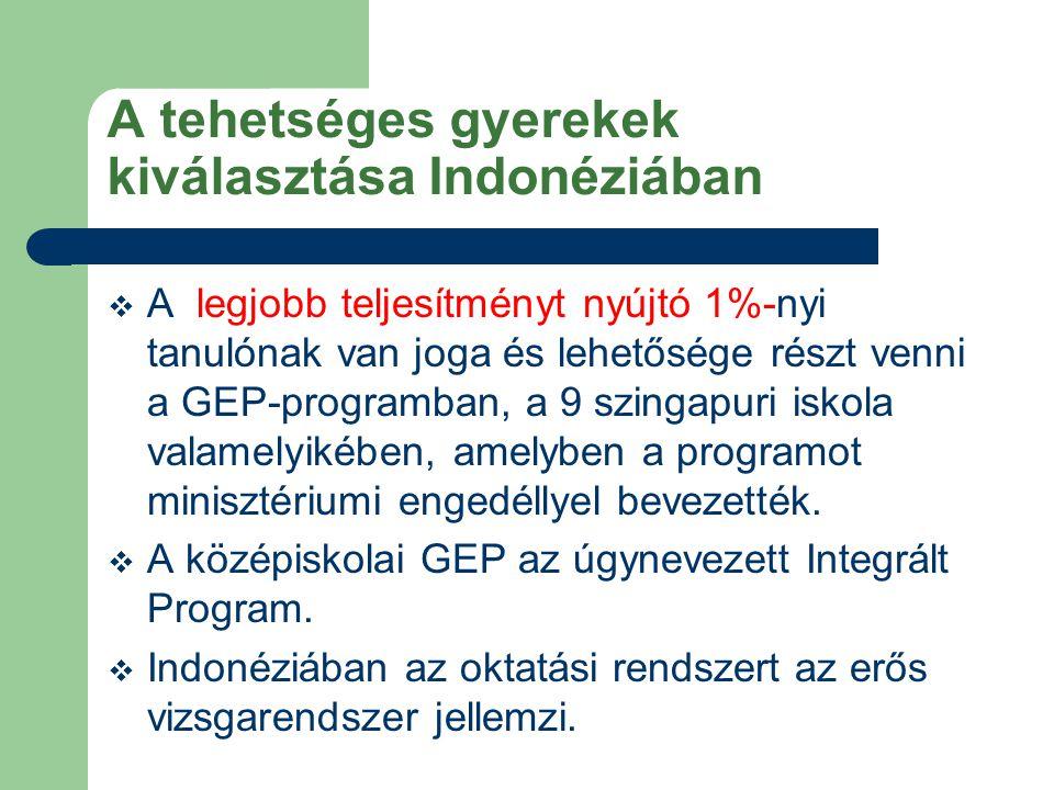 A tehetséges gyerekek kiválasztása Indonéziában  A legjobb teljesítményt nyújtó 1%-nyi tanulónak van joga és lehetősége részt venni a GEP-programban, a 9 szingapuri iskola valamelyikében, amelyben a programot minisztériumi engedéllyel bevezették.