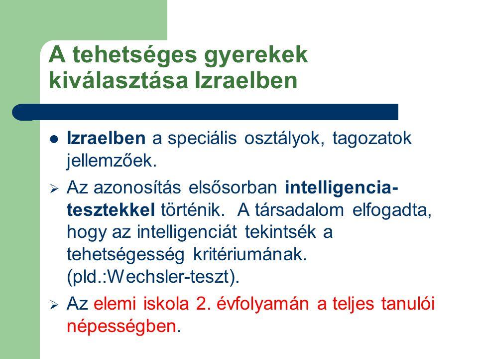 A tehetséges gyerekek kiválasztása Izraelben Izraelben a speciális osztályok, tagozatok jellemzőek.  Az azonosítás elsősorban intelligencia- tesztekk