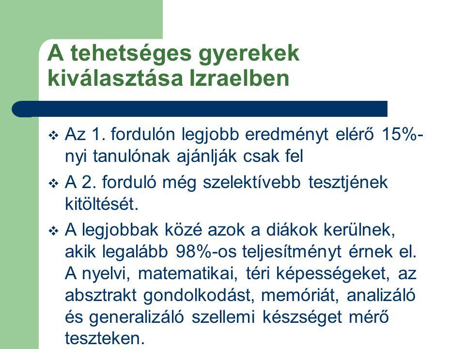A tehetséges gyerekek kiválasztása Izraelben  Az 1. fordulón legjobb eredményt elérő 15%- nyi tanulónak ajánlják csak fel  A 2. forduló még szelektí