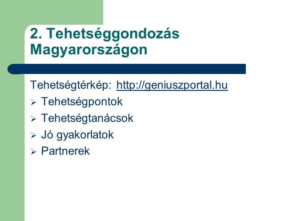 Tehetségtérkép: http://geniuszportal.huhttp://geniuszportal.hu  Tehetségpontok  Tehetségtanácsok  Jó gyakorlatok  Partnerek 2. Tehetséggondozás Ma