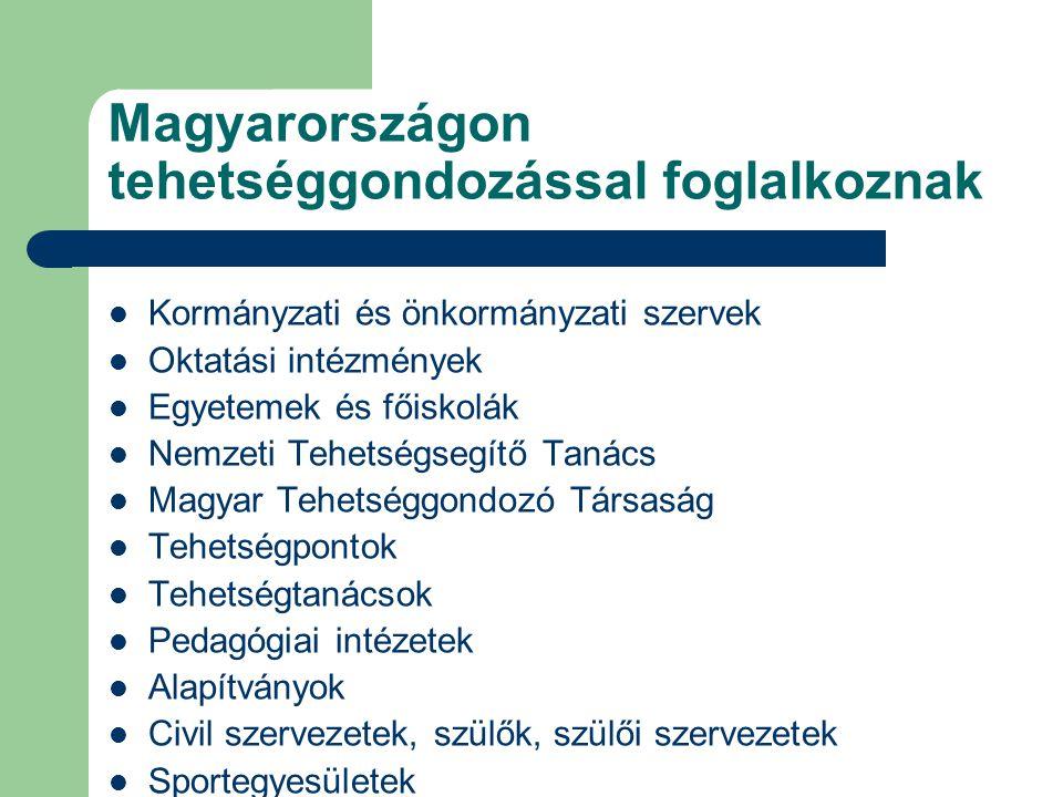 Magyarországon tehetséggondozással foglalkoznak Kormányzati és önkormányzati szervek Oktatási intézmények Egyetemek és főiskolák Nemzeti Tehetségsegítő Tanács Magyar Tehetséggondozó Társaság Tehetségpontok Tehetségtanácsok Pedagógiai intézetek Alapítványok Civil szervezetek, szülők, szülői szervezetek Sportegyesületek