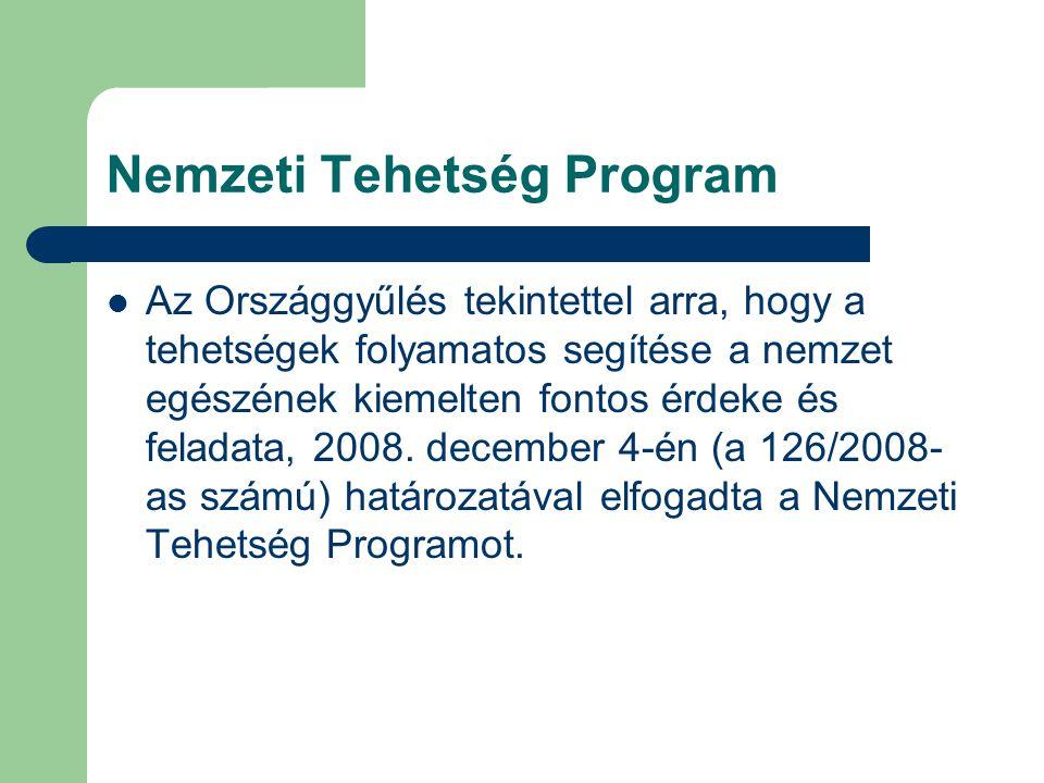 Nemzeti Tehetség Program Az Országgyűlés tekintettel arra, hogy a tehetségek folyamatos segítése a nemzet egészének kiemelten fontos érdeke és feladata, 2008.