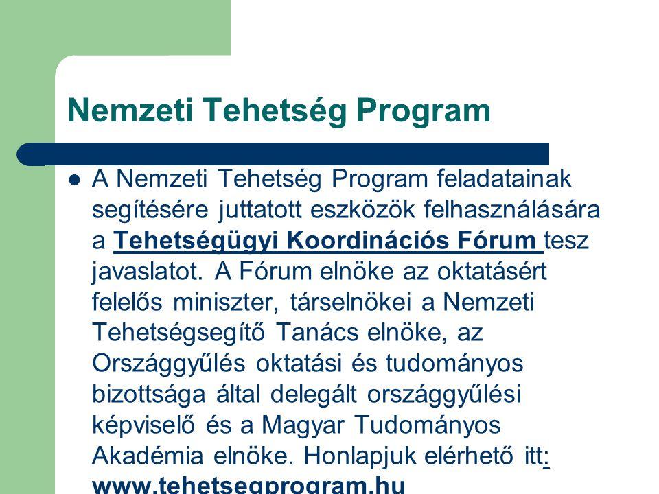 Nemzeti Tehetség Program A Nemzeti Tehetség Program feladatainak segítésére juttatott eszközök felhasználására a Tehetségügyi Koordinációs Fórum tesz