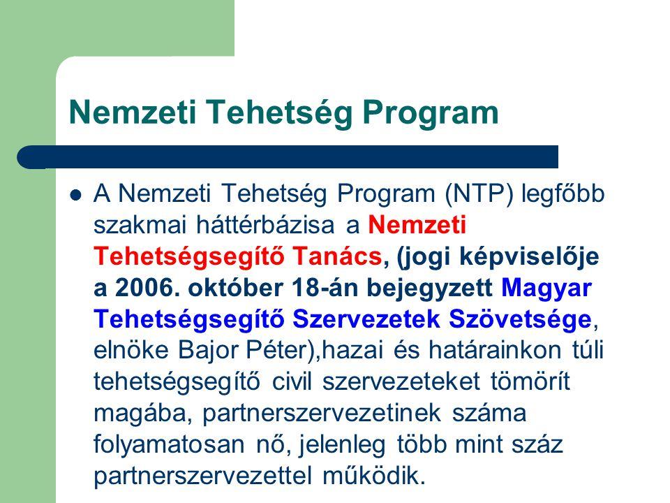 Nemzeti Tehetség Program A Nemzeti Tehetség Program (NTP) legfőbb szakmai háttérbázisa a Nemzeti Tehetségsegítő Tanács, (jogi képviselője a 2006. októ