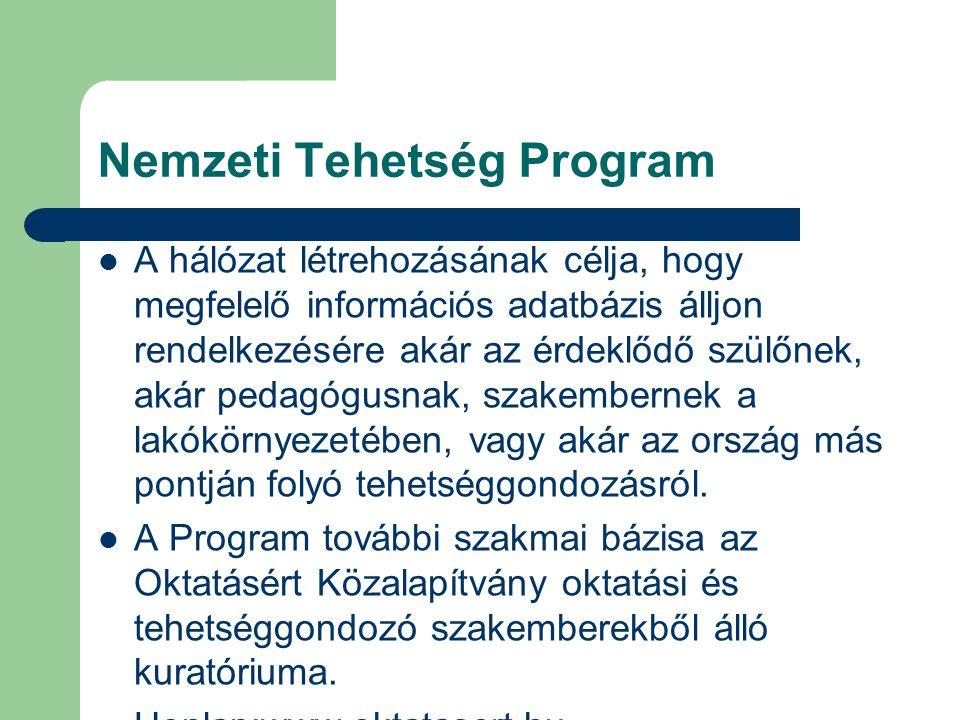 Nemzeti Tehetség Program A hálózat létrehozásának célja, hogy megfelelő információs adatbázis álljon rendelkezésére akár az érdeklődő szülőnek, akár pedagógusnak, szakembernek a lakókörnyezetében, vagy akár az ország más pontján folyó tehetséggondozásról.
