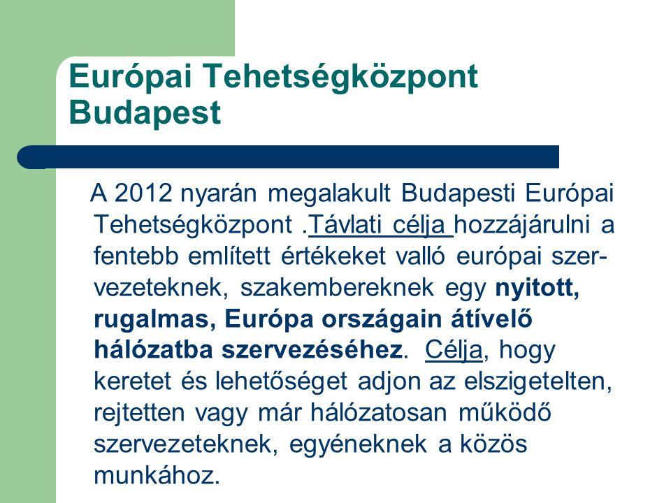 Európai Tehetségközpont Budapest A 2012 nyarán megalakult Budapesti Európai Tehetségközpont.Távlati célja hozzájárulni a fentebb említett értékeket valló európai szer- vezeteknek, szakembereknek egy nyitott, rugalmas, Európa országain átívelő hálózatba szervezéséhez.