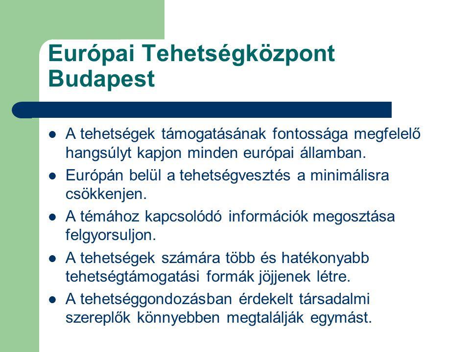 Európai Tehetségközpont Budapest A tehetségek támogatásának fontossága megfelelő hangsúlyt kapjon minden európai államban.
