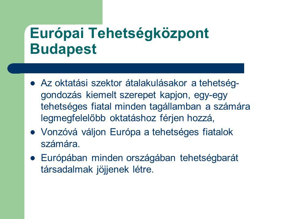 Európai Tehetségközpont Budapest Az oktatási szektor átalakulásakor a tehetség- gondozás kiemelt szerepet kapjon, egy-egy tehetséges fiatal minden tag