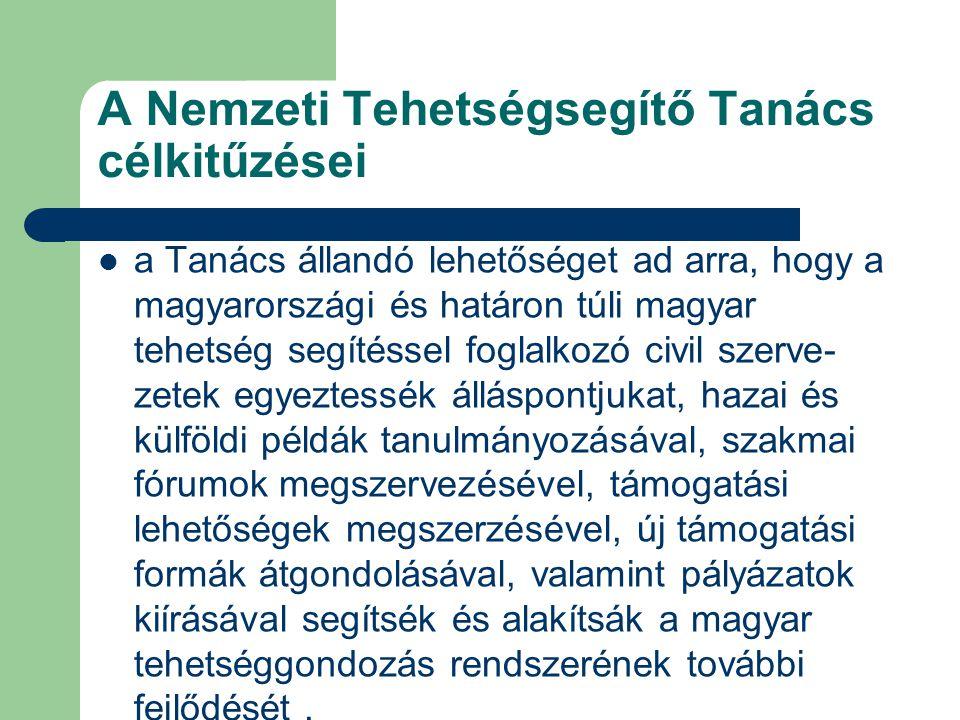 A Nemzeti Tehetségsegítő Tanács célkitűzései a Tanács állandó lehetőséget ad arra, hogy a magyarországi és határon túli magyar tehetség segítéssel foglalkozó civil szerve- zetek egyeztessék álláspontjukat, hazai és külföldi példák tanulmányozásával, szakmai fórumok megszervezésével, támogatási lehetőségek megszerzésével, új támogatási formák átgondolásával, valamint pályázatok kiírásával segítsék és alakítsák a magyar tehetséggondozás rendszerének további fejlődését.