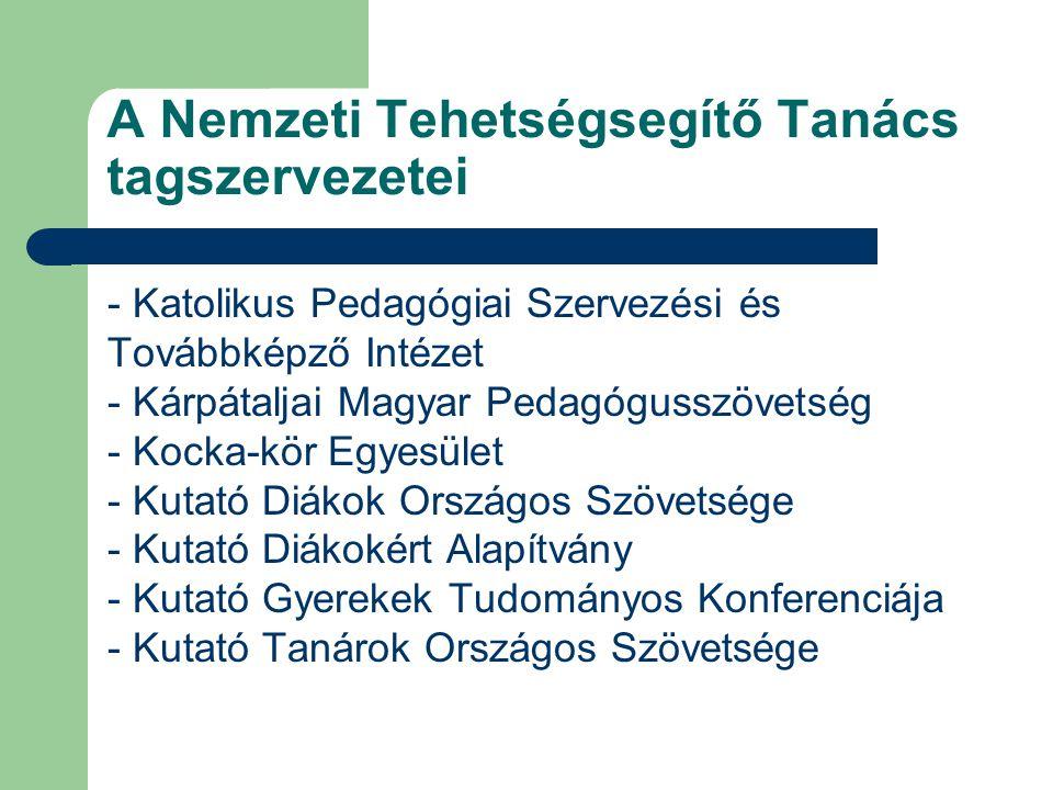 A Nemzeti Tehetségsegítő Tanács tagszervezetei - Katolikus Pedagógiai Szervezési és Továbbképző Intézet - Kárpátaljai Magyar Pedagógusszövetség - Kock