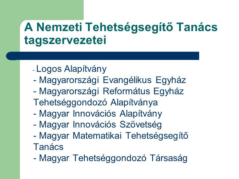 A Nemzeti Tehetségsegítő Tanács tagszervezetei - Logos Alapítvány - Magyarországi Evangélikus Egyház - Magyarországi Református Egyház Tehetséggondozó